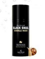 Кислородная маска с улиткой и древесным углем THE SKIN HOUSE Black snail bubble mask 100мл: фото